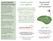 Beverly Farm's 25th Annual Golf Tournament brochure
